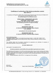 EN 1090 Certificate of conformity of the factory production control